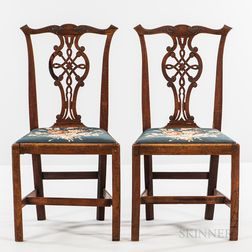 Pair of Chippendale Carved Mahogany Side Chairs