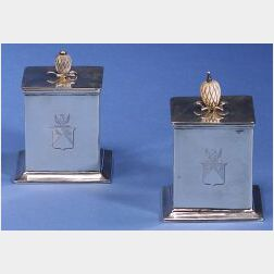 Pair of English George III Silver Tea Caddies
