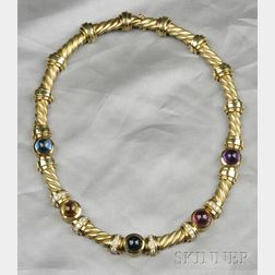 18kt Gold, Gem-set, and Diamond Necklace, Esti Frederica