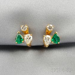 18kt Gold, Emerald, and Diamond Earclips, Chaumet
