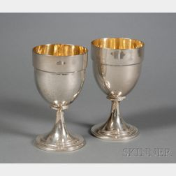 Harlequin Pair of George III Silver Goblets