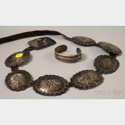 Silver Concha Belt and Bracelet