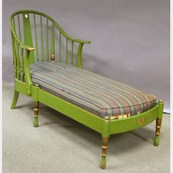 Stickley Colonial Revival Windsor-style Green-painted Maple Chaise