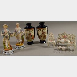 Pair of French Bisque Figures, a Five-piece Dresden Miniature Porcelain Suite of Parlor Furniture, and a Pair of Japanese Satsuma Va...