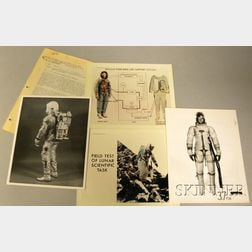 Four NASA Spacesuit Related Photograph Sheets and a 1961 U.S. Air Force   Physiological Training Program News Letter
