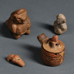Four Pre-Columbian Ocarinas and Whistles