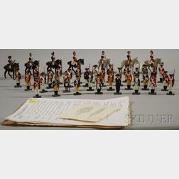 Thirty-nine-piece Blenheim Painted Cast Metal Set of American, British, and Hessian Regiments of the Battles of Trenton and Princeton,