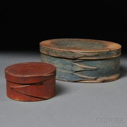Two Painted Lapped-seam Covered Storage Boxes