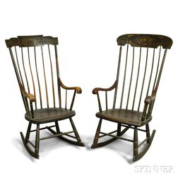 Two Grain-painted and Stenciled Rocking Chairs