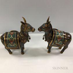 Pair of Cloisonne Donkeys