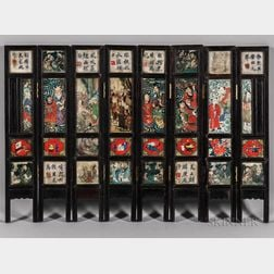 Eight-panel Double-sided Table Screen