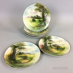 Set of Nine Royal Doulton Transfer-decorated Ceramic Castle Plates