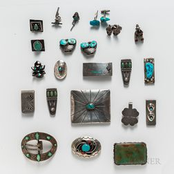 Twenty-four Southwest Silver Accessories
