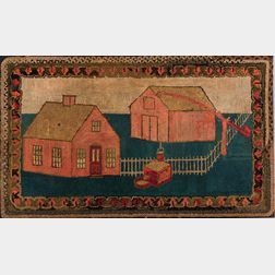 Hooked Rug Depicting a House and Barn