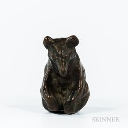Bronze Model of a Bear Cub by K. Deming