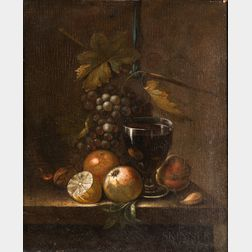 Dutch School, 17th Century      Tabletop Still Life with Hanging Grapes, Fruit, and Wineglass