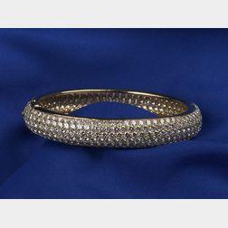 18kt Gold and Pave Diamond Bangle Bracelet