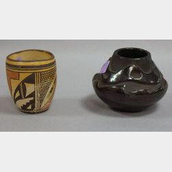 Southwest Native American Carved Blackware Jar and Painted Jar.