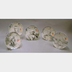 Set of Five M.N. Black Hand-painted Limoges Porcelain Portrait and Landscape Plates