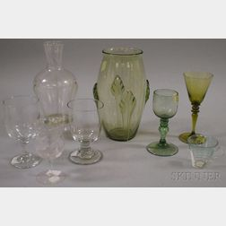 Six Pieces of Mostly Colorless Blown Glass Stemware and Two Vases.