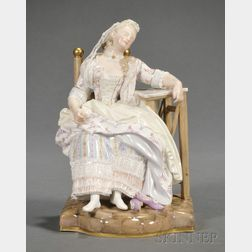 Meissen Porcelain Figure of a Lady Napping
