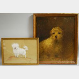 Two Dog Portraits:      Charles Livingston Bull (American, 1874-1932), Portrait of a White Dog