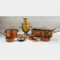 Group of Copper Cookware and a Russian Brass Samovar