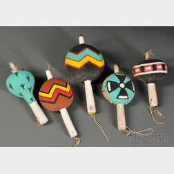 Five Southwest Polychrome Gourd Rattles