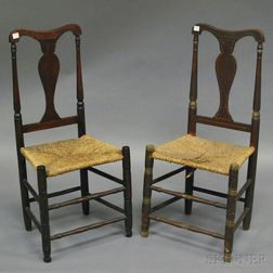 Two Queen Anne Yoke-back Side Chairs