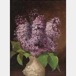 Attributed to George Henry Hall (American, 1825-1913)      Lilacs in a White Porcelain Vase