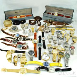 Group of Wristwatches, Pocket Watches, Bracelets, and Leather Bands