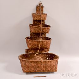 Four-tiered Hanging Woven Splint Basket