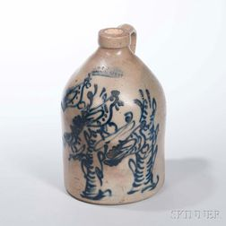 Small Stoneware Jug with Cobalt Bird in Tree Decoration