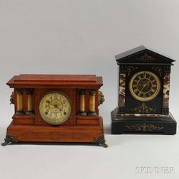 Belgian Slate and Seth Thomas Adamantine Mantel Clocks