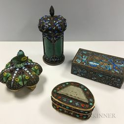Four Enameled Metalwork Boxes with Covers