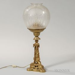 Cornelius and Company Astral Lamp with Etched Glass Globe