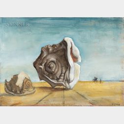 Nancy Ellen Craig (American, 1927-2015)      Surrealistic Landscape with Helmet Shells
