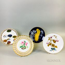 Two Mintons Hand-painted Plates, a Royal Worcester, and an Unmarked Plate