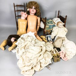 Small Group of Dolls, Parts, and Furniture