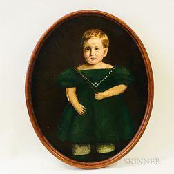 American School, 19th Century       Portrait of a Boy in Green Dress
