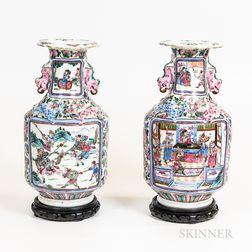 Pair of Rose Medallion Vases