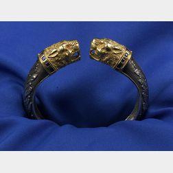 Silver and 18kt Gold Lion's Head Bangle Bracelet