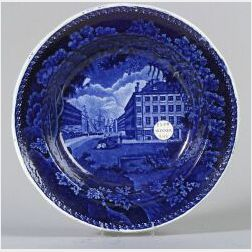 Historical Blue and White Transfer Decorated Staffordshire Soup Plate