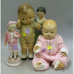 Four Composition, Wood, and Bisque Doll Items