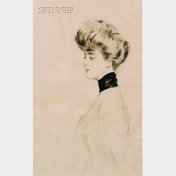Paul César Helleu (French, 1859-1927)      Élégante de profil vers la gauche (Portrait de Mme Letellier).