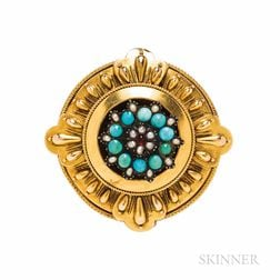 Victorian Gold and Turquoise Brooch