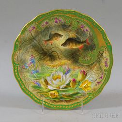 """Cauldon Hand-painted and Gilt-decorated """"Perch"""" Fish Plate"""