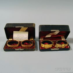 Four Antique Gold Bracelets in Original Boxes