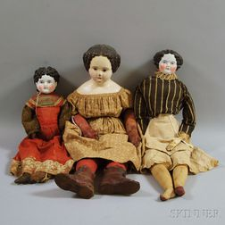 Two China Shoulder Head Dolls and a Large Papier-mache Shoulder Head Doll