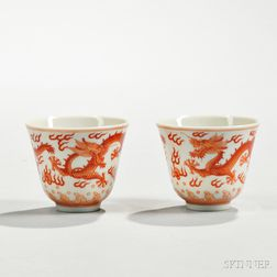 Pair of Dragon Wine Cups